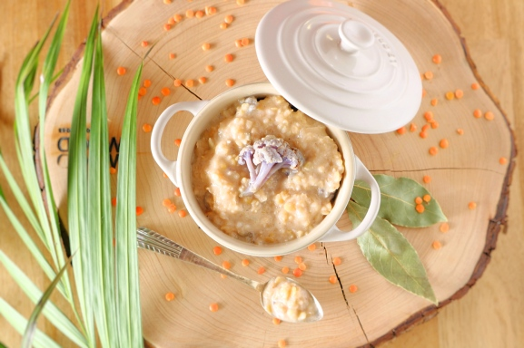 Estufado branco de lentilhas e bulgur