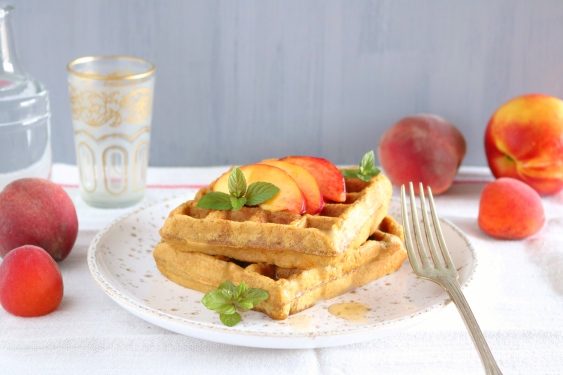 Waffles com pêssego 2
